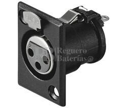 Conector canon-xlr hembra 3 pin chasis