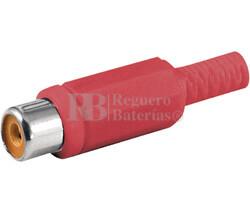 Conectores RCA hembra con protector cable rojo