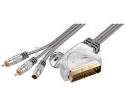 Conexión Euro con conmutador a S-VHS + 2 RCA machos