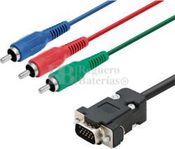 Conexión SVGA macho a RCA macho x3 RGB 2 metros