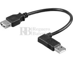 Conexión USB-A 2.0 codo macho-hembra USB-A 2.0, 0.3 metros