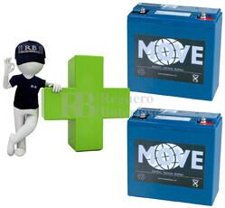 Conjunto de 2 Baterías AGM 12 Voltios 26 Amperios para Aplicaciones Ciclicas MOVE MPX20-12