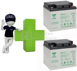 Kit de baterias de reemplazo para silla de ruedas en 12 voltios 38 amperios AGM YUASA NPL38-12L