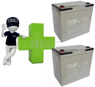 Conjunto de 2 Baterías AGM 12 Voltios 55 Amperios para Aplicaciones Ciclicas FIAMM 12FGL55