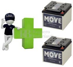 Baterías de GEL para silla de ruedas 12 Voltios 25 Amperios MOVE MPG25-12