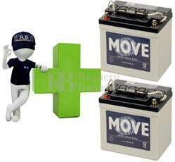 Conjunto de 2 Baterías de GEL 12 Voltios 30 Amperios para Aplicaciones Ciclicas MOVE MPG30-12