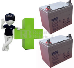 kits de 2 Bater�as De GEL 12 Voltios 33 Amperios para Sillas de Ruedas ST1233G