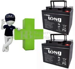Conjunto de 2 Baterías GEL 12 Voltios 45 Amperios para Aplicaciones Ciclicas LONG LG45-12