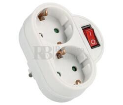 Distribuidor de red Schuko con interruptor 1 entrada 2 salidas