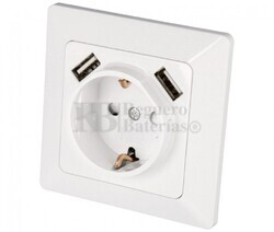 Enchufe Schuko para empotrar y 2 USB 5V/2100mA