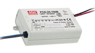 Fuente de Alimentación para iluminación Led de interior 24-36 voltios 25.2 watios PCD-25-700B entrada de 180 a 295VCA