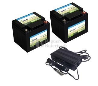 Baterías Litio Silla de Ruedas 12 Voltios 50 Amperios C- Bluetooth y cargador