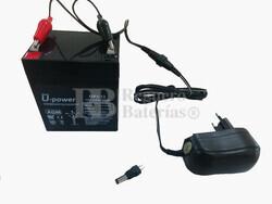 Kit de Batería 12 Voltios 5 Amperios y Cargador 12 Voltios 1 Amperio