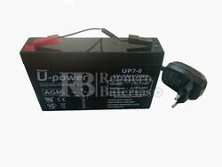 Kit de Batería 6 Voltios 7 Amperios y Cargador 6 Voltios 0,8 Amperios