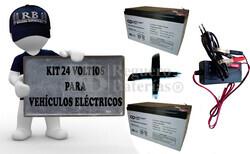 Kit de Baterías 24 Voltios 12 Amperios y Cargador de 24 Voltios Especifico para Vehiculos Electricos
