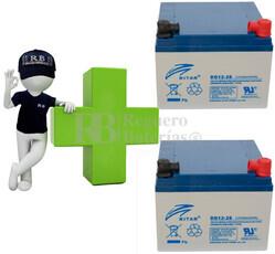 Kit de baterias de reemplazo para Silla de Ruedas Eléctrica en 12 voltios 26 amperios GEL RITAR DG12-26