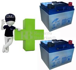 Kit de baterias de reemplazo para silla de ruedas en 12 voltios 40 amperios GEL RITAR DG12-40