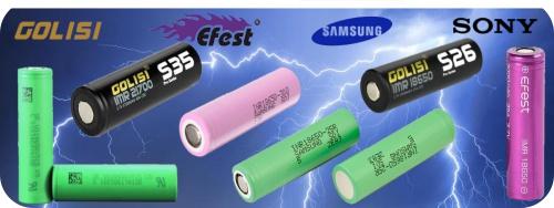 Baterías de litio 18650 Samsung Sony Golisi, Efest para vaper