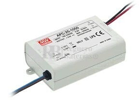 Fuente de Alimentación para bombillas led 9-24V 1.050 mAh 300mV APC-25-1050 Mean Well