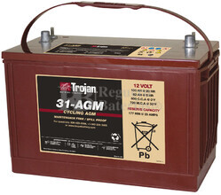 Batería para aplicación solar Trojan 31-AGM Plomo AGM 12 Voltios 111 Amperios C100