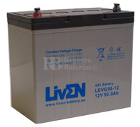 Batería de Gel para Silla de Ruedas Eléctrica en 12 Voltios 50 Amperios LEVG50-12