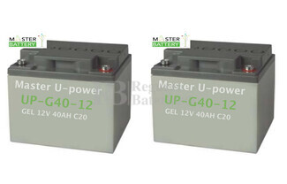 Conjunto de 2 Baterías de Gel 12 Voltios 40 amperios para sillas de ruedas eléctricas Kalerma Medical KP40