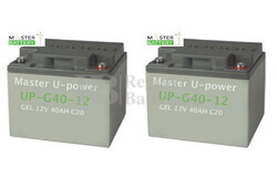 Conjunto de 2 Baterías de Gel 12 Voltios 40 amperios para sillas de ruedas eléctricas Sungift Sungift 500