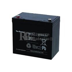 Bateria AGM C�clica para Silla de Ruedas El�ctrica en 12 Voltios 55 Amperios YUASA  YPC55-12