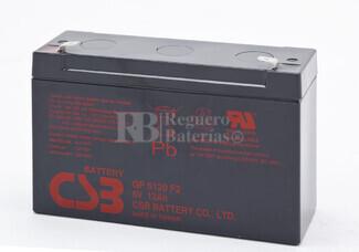 Batería para triciclo, moto, coche de niños 6 Voltios 12 Amperios CSB GP6120