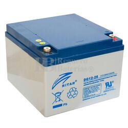 Bateria GEL Ciclica para Silla de Ruedas Eléctrica en 12 Voltios 26 Amperios RITAR DG12-26