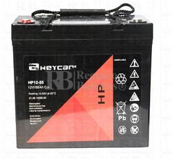 Bateria AGM Ciclica para Silla de Ruedas Eléctrica en 12 Voltios 55 Amperios HEYCAR HP12-55