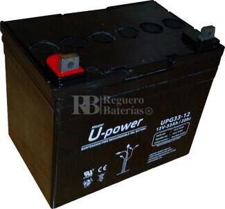 Bateria GEL Ciclica para Silla de Ruedas Eléctrica en 12 Voltios 33 Amperios U-POWER UPG33-12