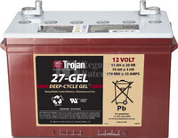 Bateria para apilador 12 Voltios 91 Amperios C20 324 x 171 x 234mm Trojan 27-GEL