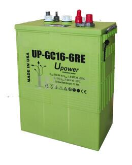 Bateria de Plomo Abierto para instalación solar 6 voltios 600 Amperios C100 318x181x425 mm U-POWER  UP-GC16-6RE