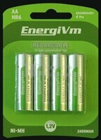 Pila recargable energivm R-6 AA 2.000 mAh (Blister de 4 baterías baja auto-descarga)