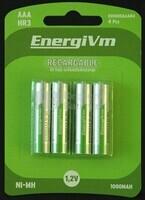 Pila recargable Energivm R-03 AAA 750 mAh (Blister de 4 baterías baja auto-descarga)