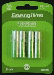 Pila recargable energivm R-03 AAA 750 mAh (Blister de 4 baterias baja auto-descarga)