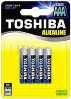 Blister 4 Pilas Alcalinas AAA LR03 Toshiba Blue Line