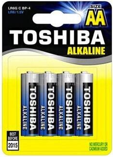 Blister 4 Pilas Alcalinas AA LR06 Toshiba Blue Line