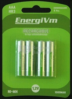Batería para Linternas Frontales AAA 750mAh (4 unidades)