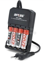 Cargador baterías AAA/AA con 4 Baterias AA 1.2V 2.700mAh