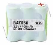 Packs de baterias recargables 3.6 Voltios 400 mAh 2/3AAA NI-MH 30,0x30,0x10,5mm