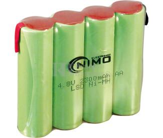 Packs de baterías pre-cargadas recargables 4.8 Voltios 2.300 mAh AA NI-MH 56,0x49,0x14,0mm