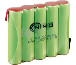 Packs de baterías pre-cargadas recargables 6 Voltios 900 mAh AAA NI-MH 60,0x40,0x10,0mm