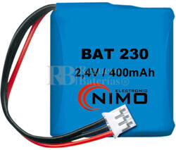Packs de baterías recargables 2.4 Voltios 300 mAh 1/2AA NI-CD 30,0x29,0x14,5mm