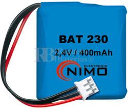 Packs de baterías recargables 2.4 Voltios 300 mAh 1/2AA NI-CD 30,0x29,0x14,5mm