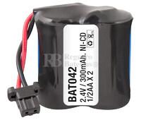 Packs de baterías recargables 2.4 Voltios 300 mAh 1/2AA NI-CD