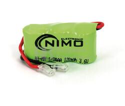 Packs de baterías recargables 3.6 Voltios 120 mAh 1/3AAA NI-MH 31,0x16,5x10,5mm