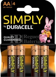 Pila Alcalina Duracell Simply Power AA Blister 4 Unidades
