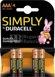 Pila Alcalina Duracell Simply Power AAA Blister 4 Unidades